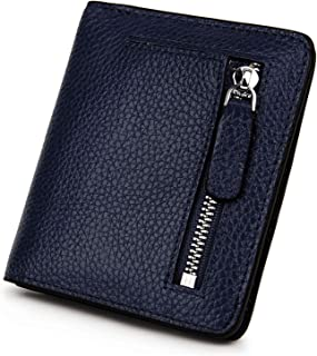 BIG SALE-AINIMOER Women's RFID Blocking Leather Small Compact Bifold Pocket Wallet Ladies Mini Purse with id Window (Navy Blue)