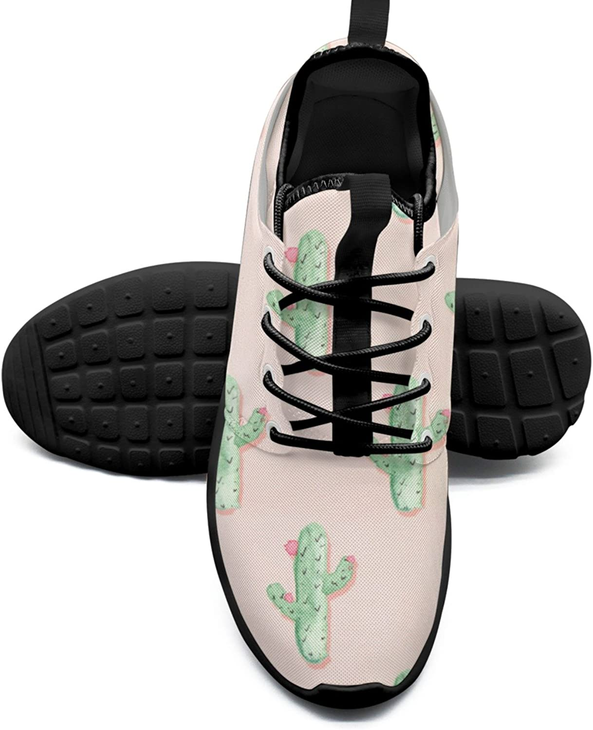 Cute Cactus And Flowers Printing Women's Walking shoes Hip Hop Mesh Lightweight Tennis Sneakers