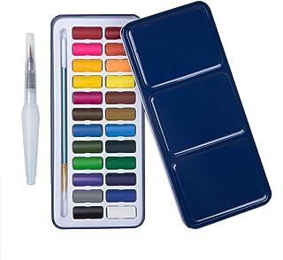 MEEDEN 24-Colour Watercolour Paint Set with Brush Pen & Water Brush Pen