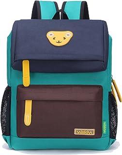 Willikiva Cute Bear Kids School Backpack for Children Elementary School Bags Girls Boys Bookbags (Dark Blue/Coffee/Green, Medium)