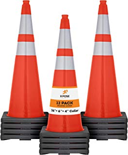 "Xpose Safety 36 Inch Orange Traffic Cones with 6"" & 4"" Collars - Multipurpose PVC Plastic Safety Cone for Parking, Soccer, Caution, Kids and Construction"