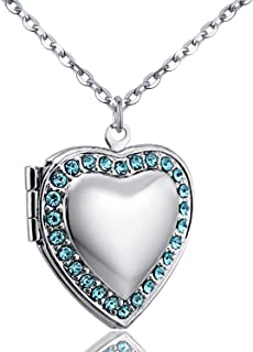 YOUFENG Love Heart Birthstones Locket Necklace Holds Pictures Paved Blue Red White CZ Rose Gold Living Memory Photo Lockets