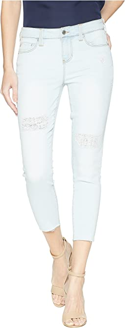 Liverpool - Petite Alec Crop Raw Hem in Vintage Super Comfort Stretch Denim in Sunpeak Mended