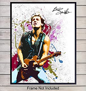Bruce Springsteen Wall Art Print Poster - Inexpensive Gift for Musicians, Boss, E Street Band and 80's, Eighties Music Fans - Unique Home Decor for Den, Man Cave, 8x10 Photo Unframed