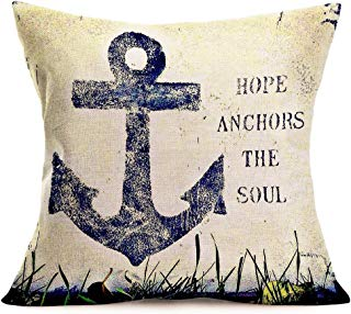 Smilyard Vintage Nautical Theme Throw Pillow Cover Cotton Linen Hope Anchors The Soul Quotes Decorative Pillow Case Cotton Linen Cushion Cover Home Decor for Couch Car 18x18 Inch (VA 06)