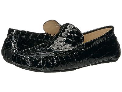 Massimo Matteo Glossy Croc Driver (Black Croco) Men