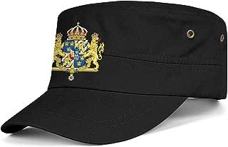 CCBING Sweden Emblem Swedish Empire Flag Cadet Military Flat Top Caps Breathable Sport Hats