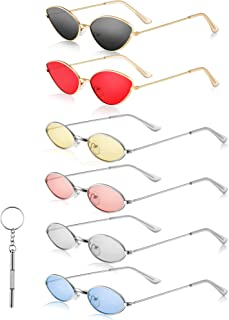 6 Pieces Small Metal Frame Oval Sunglasses Small Cat Eye Sunglasses Vintage Colors Oval Sunglasses and Sunglasses Repairing Scewdriver for Girls, Men and Women