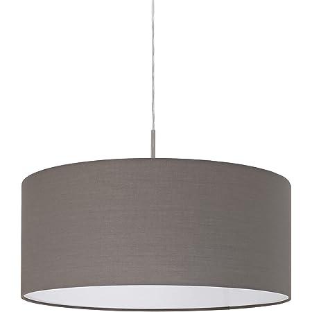 EGLO Lustre PASTERI, suspension en textile à flamme, lampe pendante en acier et tissu, couleur : nickel mat, marron anthracite, douille : E27, Ø : 53 cm