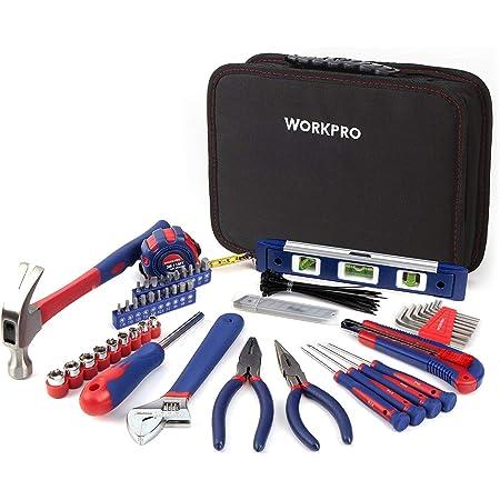 WORKPRO Kit d'Outils avec Sac de Rangement pour Usage Domestique ou du Travail 100 Pièces