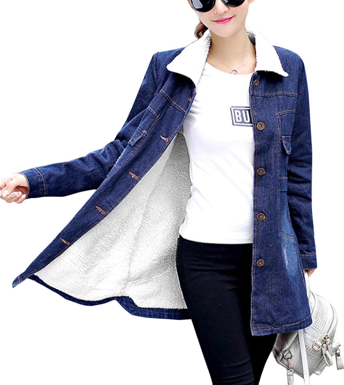 Flygo Women's Winter Warm Sherpa Fleece Lined Mid Long Denim Jean Jacket Outerwear