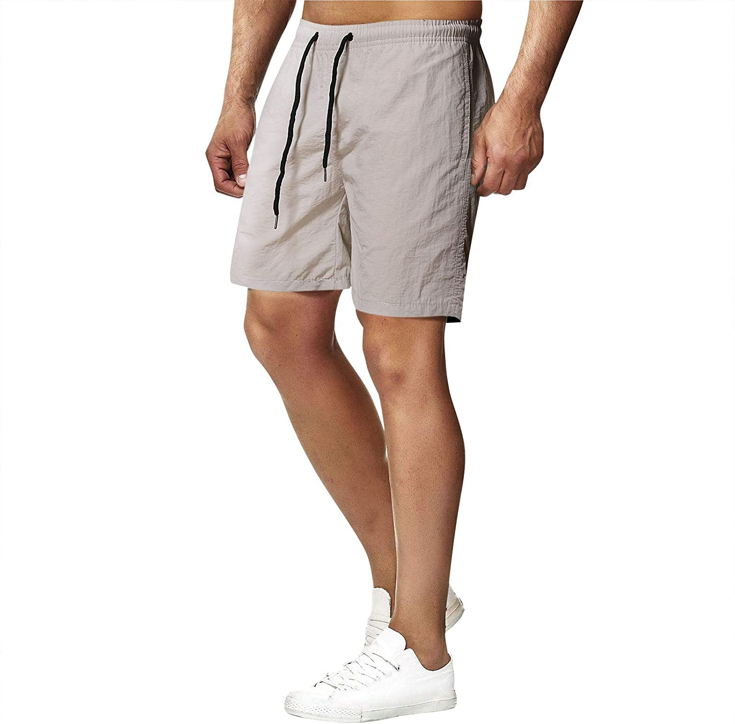 Muyise Beach Sports Fitness Shorts for Men Drawstring Lounge Pants Workout Running Trouser Comfy Casual Pants