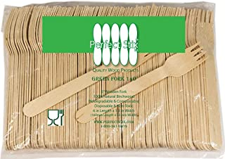 Perfect Stix Green Fork 140-1000ct Birchwood Compostable Cutlery Fork, 5-1/2