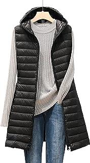 Briskorry Donsvest met capuchon voor dames, winter, lichte lange mantel, winddicht vest, oversized mouwloos, slanke jas, d...