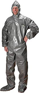 Lakeland ChemMax 3 Heat Sealed Taped Seam Coverall with Respirator-Fit Hood and Boot, Disposable, Elastic Cuff, 2X-Large, Gray, Storm Flap (Case of 6)