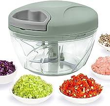 SUNTIRC Hachoir à légumes manuel, utilisé pour la sauce tomate, la viande, l'oignon l'ail la salade tournant 520ml 3 lames...
