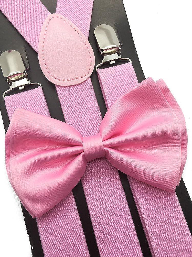 4everStore Unisex Bow Tie & Suspender Sets, Light Pink
