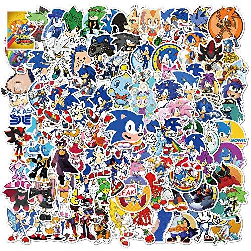 NEITWAY Sonic The Hedgehog Pegatinas Casco Moto 100-Pcs Cartoons Pegatinas Ordenador, Impermeable Pegatinas Moto Stickers Pegatina de Vinilo para Laptop, Coche, Maleta, Bicicleta