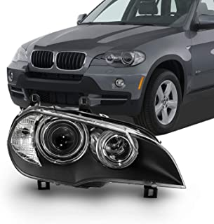 Fits 2007 2008 2009 2010 BMW E70 X5 Xenon [HID w/AFS] Projector Black Headlight Passenger Right Side Replacement