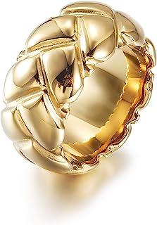 CIUNOFOR خاتم عصري عريض عريض مجدول للنساء والفتيات بيان الفولاذ المقاوم للصدأ خاتم مطلي بالذهب مجوهرات الأزياء اليدوية