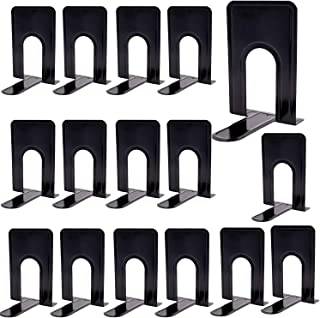 KINJOEK 8 Pairs 16 Pieces 8.3 x 5.1 x 6.5 Inch Metal Bookends, Heavy Duty Book Support with Anti Slip Pads for Books, Maga...