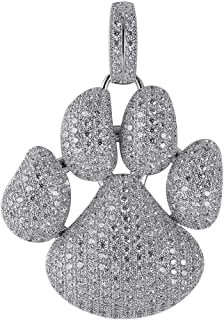 TOPGRILLZ 18K Iced Out CZ Simulated Diamond Bubble French Bulldog Dog Paw Pendant Necklace Hip Hop Jewelry for Boys Kids