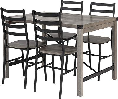 Walker Edison Renzo Urban Industrial Metal X Dining Set with Slat Back Chairs, Set of 5, Grey Wash