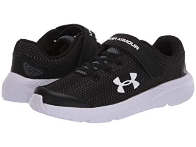 Under Armour Kids Pursuit 2 (Little Kid) (Black/White/White) Boys Shoes