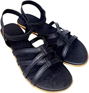 saanvishubh Comfortable Stylish Faux Leather Flat Sandal for Girls and Women