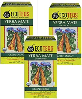 ECOTEAS Organic Yerba Mate Unsmoked Tea 24 Bags (Pack of 3)