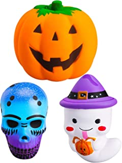 WATINC 3 Pcs Halloween Spooky Squishies Sensory Toys Kawaii Slow Rising Cream Scented Stress Relief Kids Toys Pumpkin Ghost Skull Squishies Toys Squeezable Dolls Halloween Party Decorative Props Gift