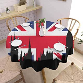 Luoiaax Union Jack Waterproof Anti Wrinkle no Pollution Houses of The Parliament Silhouette on UK Flag Historic Urban Skyline Round Tablecloth D47 Inch Round Royal Blue Black Red