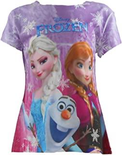 d4ee4c48c8a24 Disney Frozen Anna, Elsa and Olaf Characters Light Pink Fitted Tee Sizes  5-12