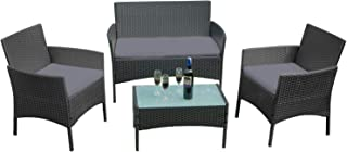 Ouhigher - Conjunto de Muebles de jardín, Incluye 1 Banco + 2 sillas + 1 Mesa con Tablero de Cristal y 8 cm de cojín de Respaldo, para jardín, 4 Personas