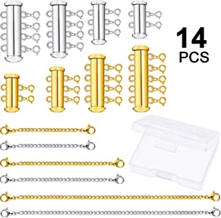 14 Pieces 4 Sizes Slide Magnetic Clasp Connectors Tube Multi Strands Clasps and Necklace Bracelet Chain Extenders with Storage Box