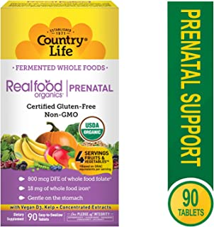 Country Life Vitamins, Prenatal, Organic, Fermented Wholefood, Non-GMO, Gluten Free, 90 Count