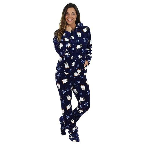 ecec89103d77 SleepytimePjs Women s Sleepwear Fleece Hooded Footed Onesie Pajamas