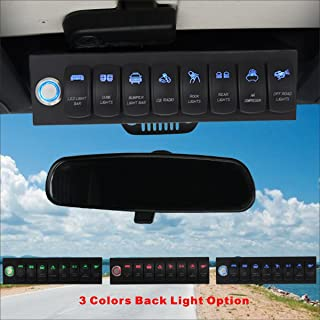 Voswitch Jeep Wrangler 2007-2018 JK & JKU Overhead 8-Switch Pod/Panel with Control and Source Box Blue Backlight(Comes with 15 Laser Etched Switch Covers)