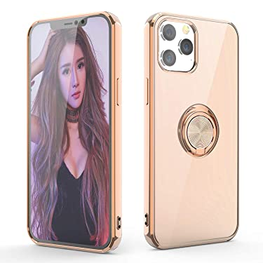 WATACHE for iPhone 12 Pro Max Case, Crystal Clear Slim Fit Protective Phone Case Cover with [Ring Holder Kickstand] [Magnetic Car Mount Feature] for iPhone 12 Pro Max 6.7 Inch 2020,Milk Tea