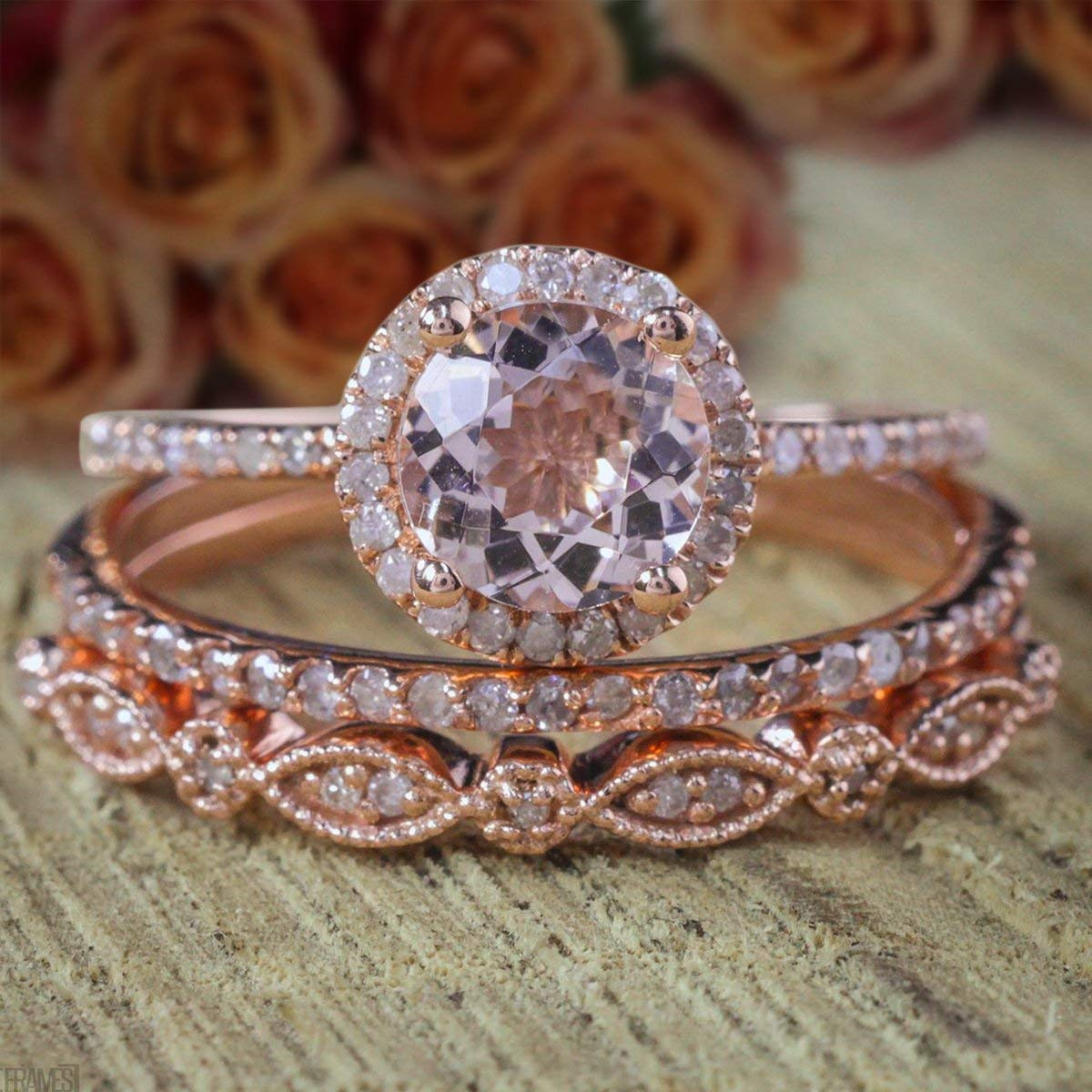 2 carat Round Morganite and Diamond Rin Set Engagement Al sold out. Columbus Mall Trio Ring