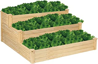 VINGLI Pine Wood 3 Tiers Raised Garden Bed Planter, Grow Fresh Vegetables, Fruits Potato Onion Flower, Very Solidly Made Patio Garden Planter Boxes 48 Inch x 48 Inch x 22 Inch