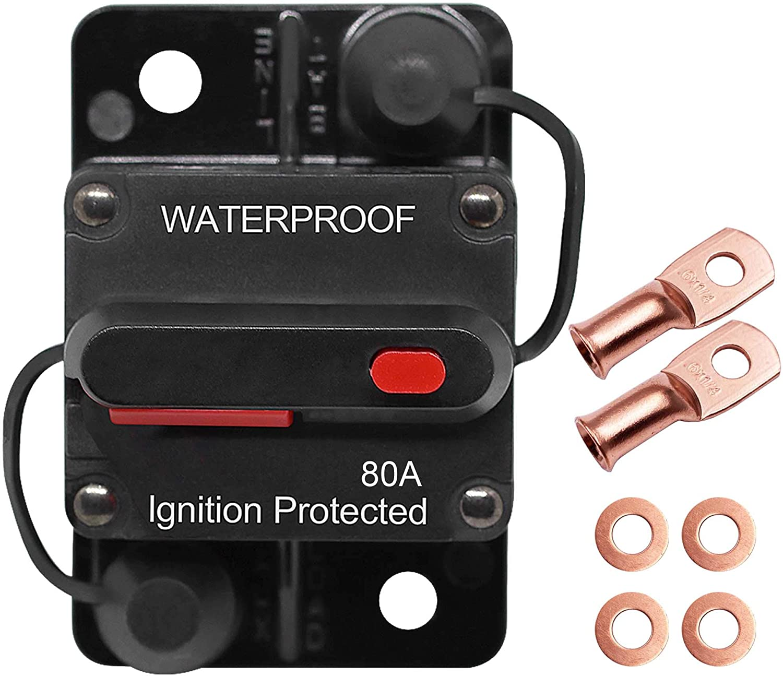 Erayco 100 Amp Circuit Breaker with Manual Reset for Car Marine Trolling Motors Boat ATV Manual Power Protect for Audio System Fuse Waterproof 12V-48VDC 100A