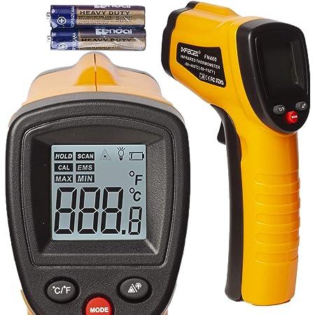 赤外線温度計 クッキング デジタル 温度 ガン セルフ キャリブレーション付き -50〜400℃ 非接触 温度 ガン バックライト付き デュアル 放射率 0.8 0.95 (人間 温度用 なし) 最大 最小 測定 レーザーが照射しない 赤い線が出ない 正常に機能している 日本語取扱説明書