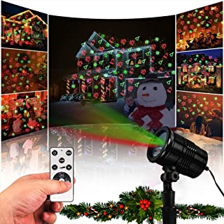 Christmas Laser Light, Waterproof Projector Lights with RF Wireless Remote, Landscape Spotlight Red and Green Star Show Christmas Decorative Laser Lights for Indoor Outdoor Garden Patio Festival Party