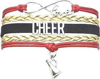 HHHbeauty Cheer Bracelet Cheerleading Girls Cheer Charm Bracelet Cheer Gifts for Cheerleaders, Grils, Women, Boys, Men