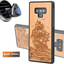 iProductsUS Wood Phone Case Compatible with Samsung Galaxy Note 9 and Magnetic Mount, Engrave Cool Pirate Boat, Built-in Metal Plate,TPU Rubber Shockproof and Protective Cover (6.4 inch)
