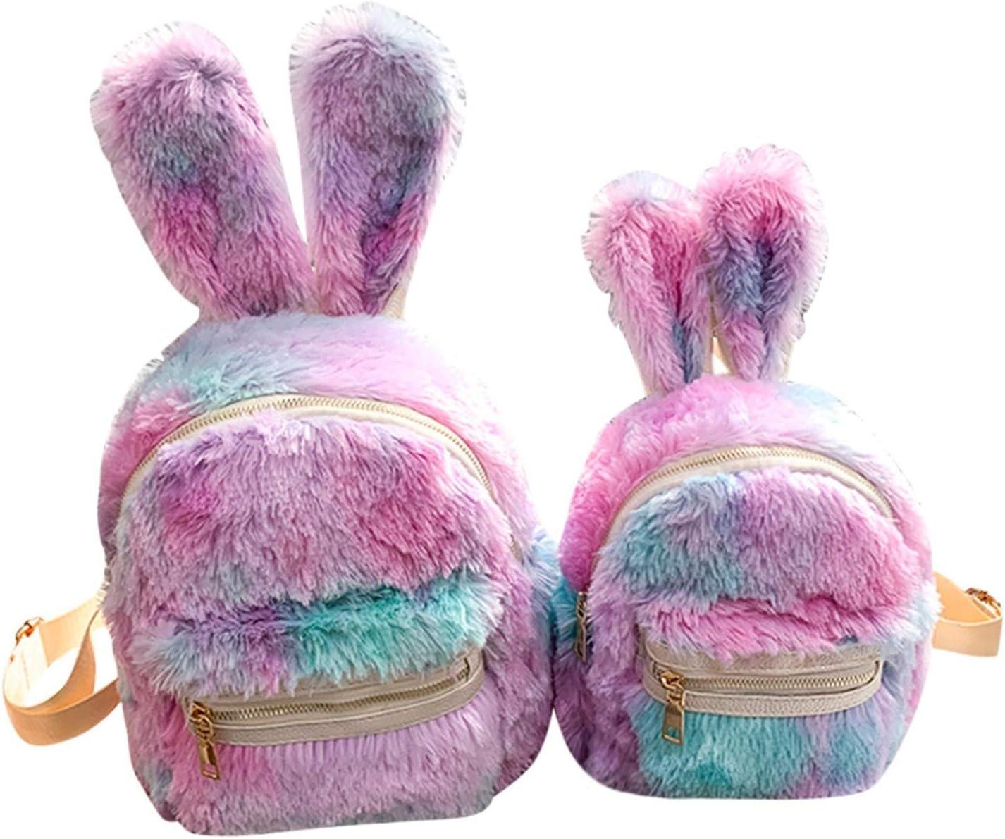 Children Faux Fur Mini SEAL limited product overseas Rabbit Outdoor Ears Backpacks Plu Women's
