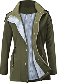 JASAMBAC Raincoat Waterproof Lightweight Hooded Rain Jacket Active Outdoor Women's Trench Coats
