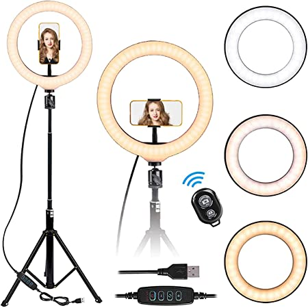 LEDリングライト Gliston スマホライト 10 inch 10階段調光 3モード調色 USB給電 撮影照明用ライト スマホスタンド付き 補助光 美容化粧/YouTube生放送/tiktok/ビデオカメラ撮影用 リモコン付き 自撮り/照明 LEDライト