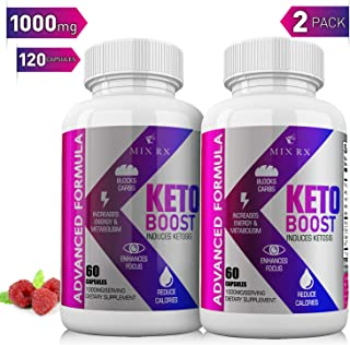 (2 Pack | 120 Capsules) Keto Pills with Carb Supplement - Exogenous Ketones - Utilize Fat for Energy with Ketosis for Women Men - Health Energy & Focus, Manage Cravings, Support Metabolism - BHB Salts